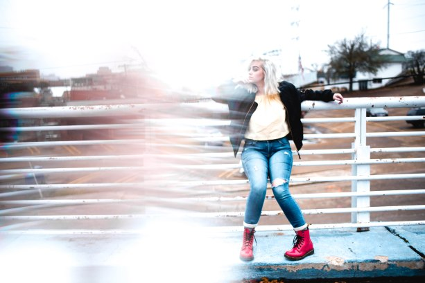 senior photography, edgey style, potrait photography, hazey light, fractal, red boots, overcast lighting, bleached hair, candid, rooftop photo