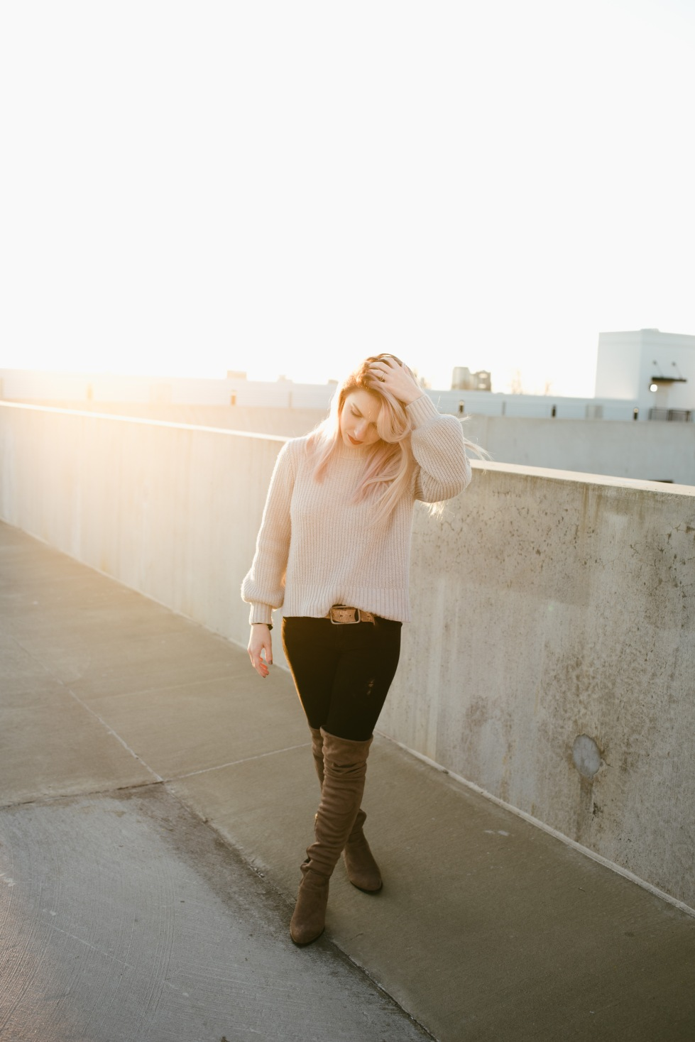 Portrait photographer, alabama photographer, sunset photo, rooftop photo, purple hair, pastel hair, candid photo, outfit, winter outfit, sweater, weddin photographer,